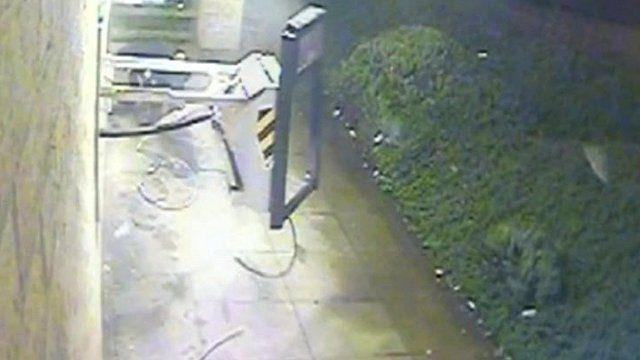 Cash machine being blow up - still from CCTV footage
