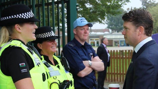 Police chat with US ambassador to the UK, Matthew Barzun, at the Nato Summit in Wales, September 2014