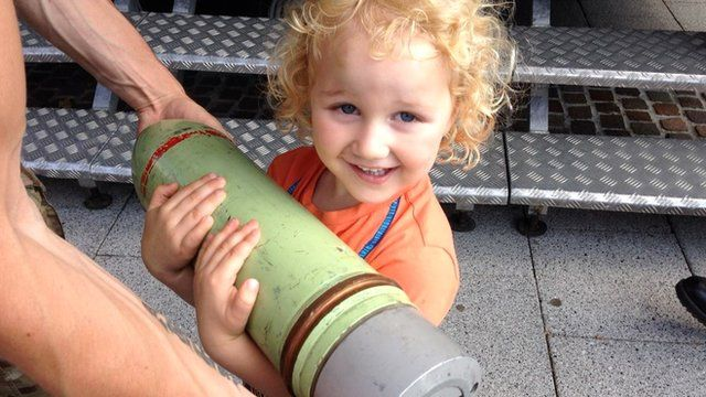 Hugh Browne holding a missile