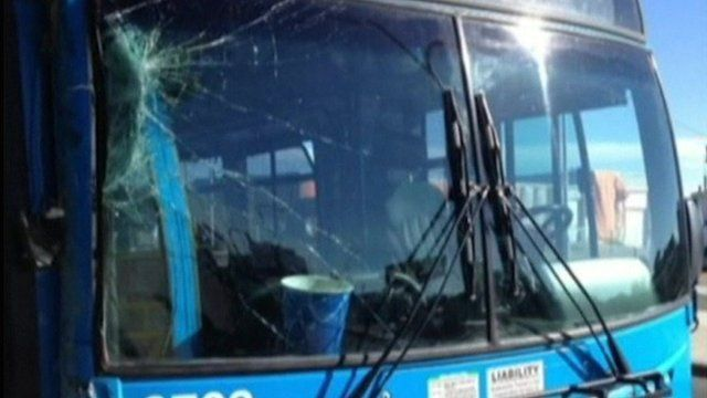 cracked windscreen of bus