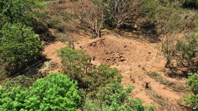impact crater made by a small meteorite in a wooded area near Managua's international airport