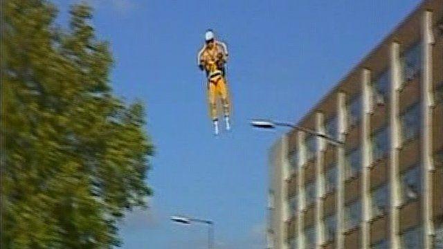 A man wearing a jetpack flies over Birmingham