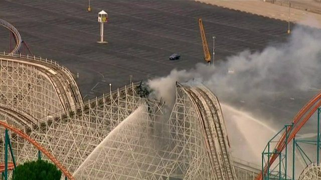 The Colossus ride at Southern California's Magic Mountain park on fire