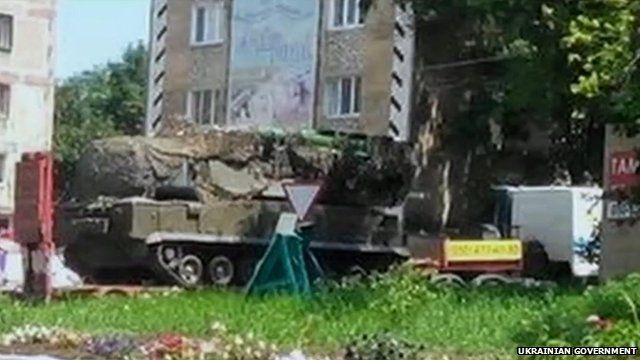 Image released by Ukrainian government purports to show a low loader with a BUK missile launcher ten miles from the MH17 crash site