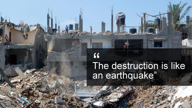 Destruction surrounding Mohammed Habib's house