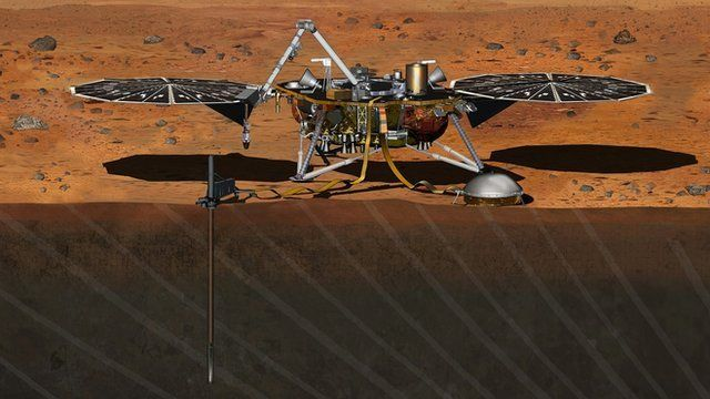 An artist's impression of the InSight Lander