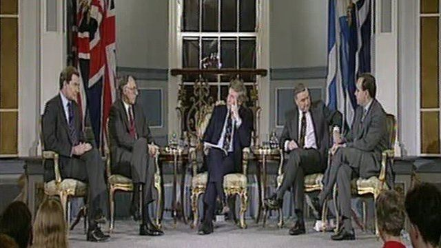 David Dimbleby chairs the 1992 debate on the future of Scotland's government.