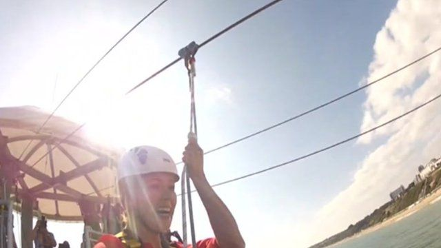 The zip line is 820ft long and is 20 metres above the sea