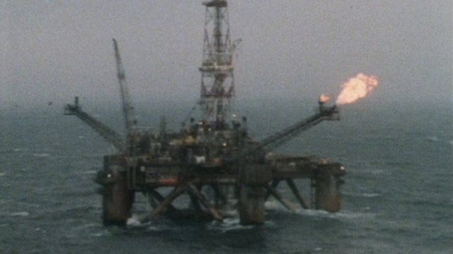 An oil platform off the coast of Aberdeen