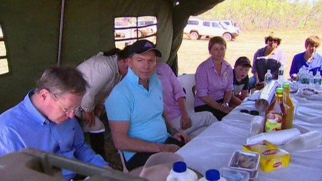 Tony Abbott at a meeting in a tent