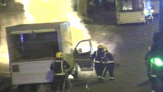 CCTV footage showing firefighters tackling pavement explosion