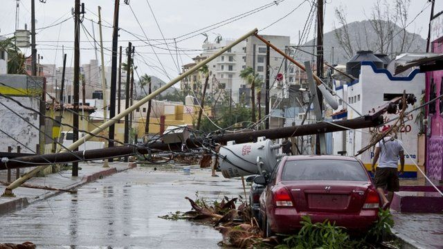 Damage caused by Hurricane Odile to a street in Cabo San Lucas