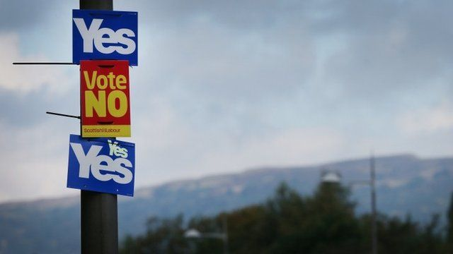 Yes and No campaign placards adorn a lamp post in sight of the Campsie Fells on September 16, 2014 in Glasgow, Scotland