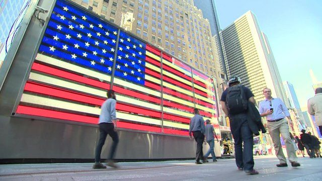 American flag in lights on New York Street