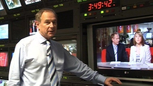Nick Owen in the TV gallery at the Mailbox