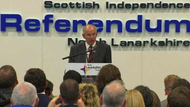 North Lanarkshire declaring in the Scottish referendum