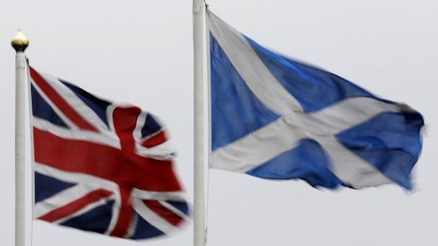The Union Jack flag and Saltire flying side by side
