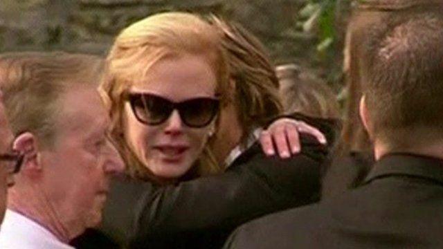Nicole Kidman is comforted by her husband Keith Urban