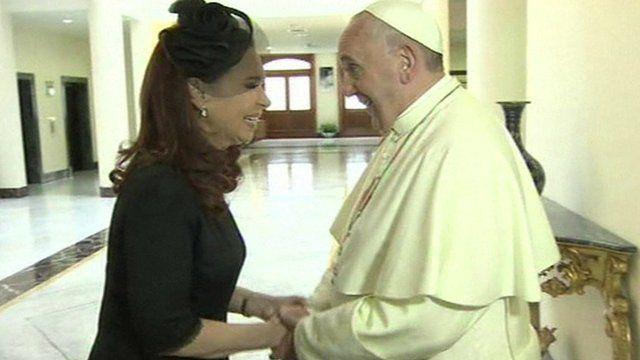 Argentinean President Cristina Fernandez de Kirchner and Pope Francis