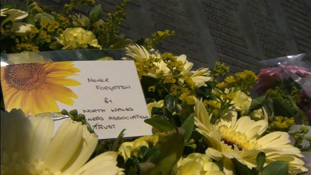 Flowers at the Gresford mining memorial