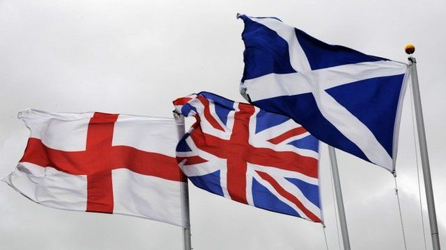 St George, Union and Scottish flags
