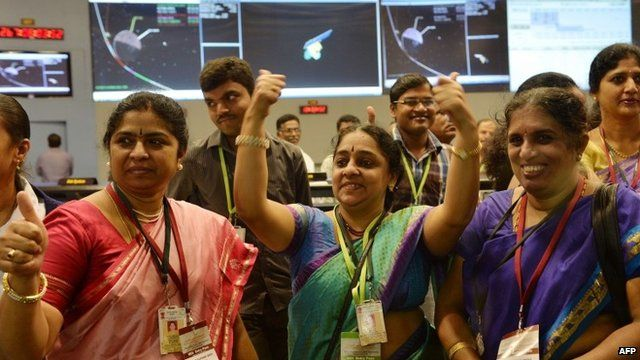 Indian Space Research Organisation (ISRO) staff celebrating