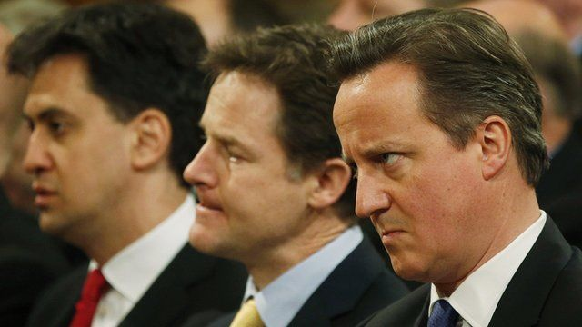Prime Minister David Cameron, Nick Clegg and Ed Miliband