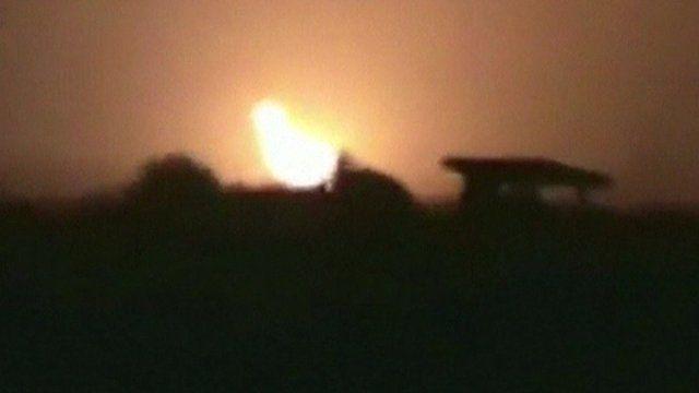 Amateur footage of blast at night