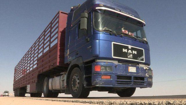 Lorry at Karameh Border Crossing, Jordan