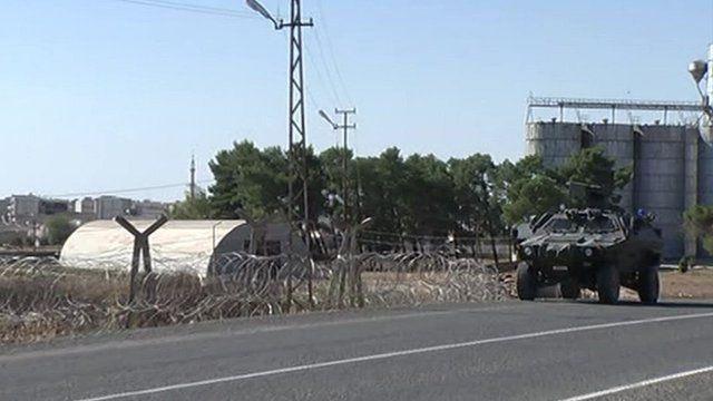 Turkish military vehicle in Mursitpinar on Turkey-Syria border