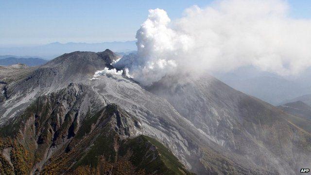Smoke rising from Mount Ontake