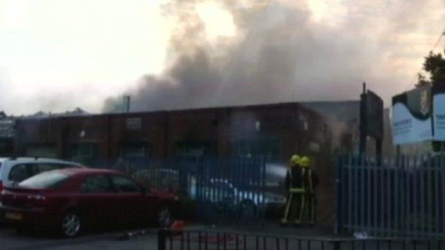 Firefighters stopped the blaze spreading to the school next door, the fire service said.