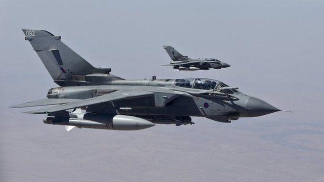 Two Tornado jets in flight