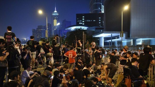 "Demonstrators gather in front of embattled leader CY Leung""s office in Hong Kong"
