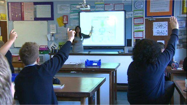 Schoolchildren at Treorchy Comprehensive School