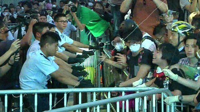 Hong Kong police and protesters