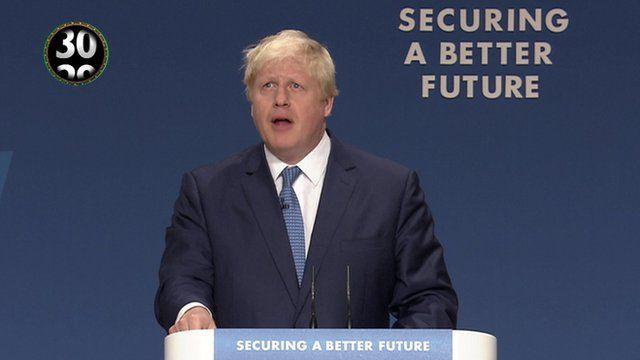 Boris Johnson at the Tory conference