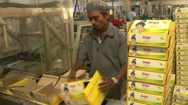 Amul products in a factory