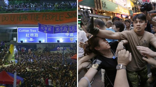 Peaceful protests in Hong Kong's Admiralty district (left), and scuffles in Mong Kok (r) on 4 October