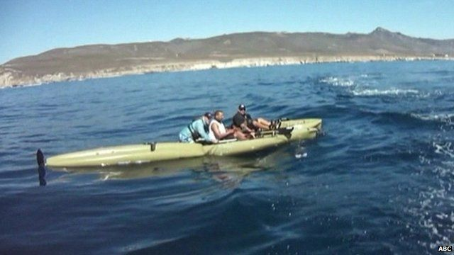Kayakers filmed from rescue boat