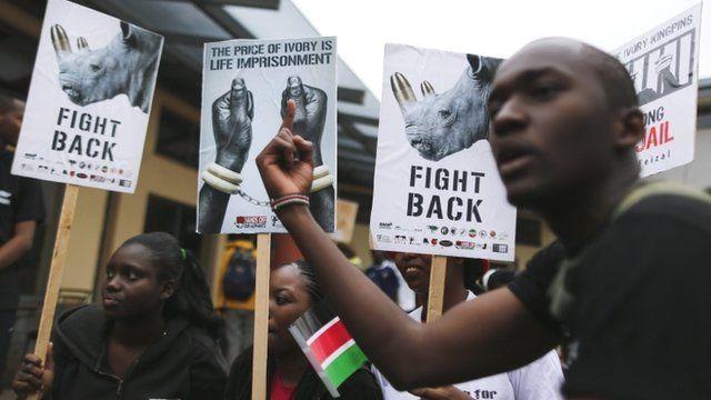 Nairobi protestors against ivory and rhino horn trade