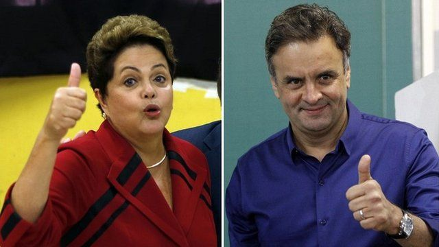 President Dilma Rousseff (L) of the Workers Party and Aecio Neves of the Brazilian Social Democracy Party