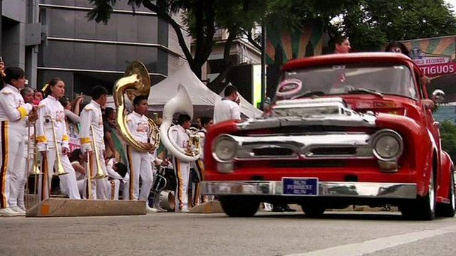 mariachi band and classic car