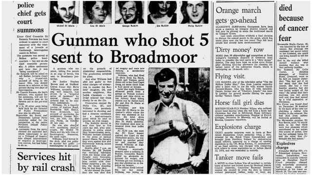 Newspaper from the time of Harry Street's original conviction, when his name was Barry Williams; headline reads 'Gunman who shot 5 sent to Broadmoor'