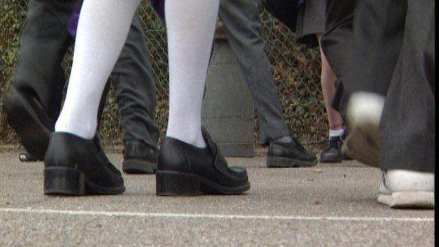 Picture of schoolchildren's legs - with school uniform on