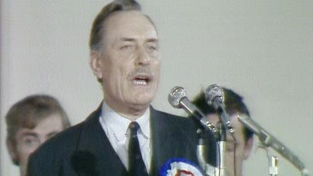 Enoch Powell delivers his victory speech following his election in South Down in October 1974