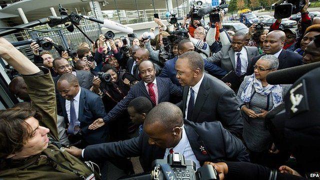 Uhuru Kenyatta arrives at ICC. 8 Oct 2014