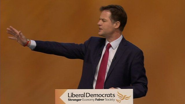 Nick Clegg at conference speech