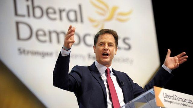 Nick Clegg at his party conference