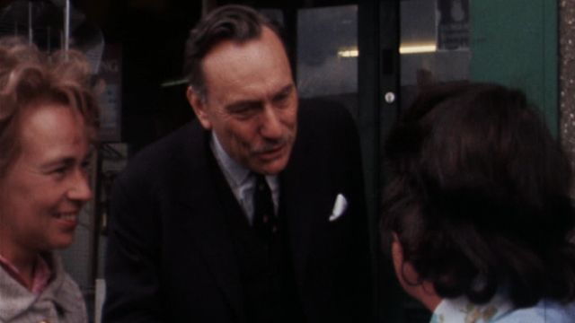 Enoch Powell greets a constituent in Ballynahinch, South Down